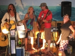 A surreal image of a typical gig with Copper Sky (Heather's duo) at The Lighthouse is Lewes, DE (Summer 2007) celebrati
