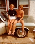 Pam Cook and Mark Riffe, Kill Devil Hills, NC, summer after graduation.  We are sitting on Eric Griesinger's Chevy Nova