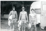 Joe Johns, Reynolds Murray and Tim Garvey camping at the beach.