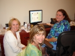 The reunion committee hard at work in Andy's home office.  Karen Harris, Janine Smith and Sue Berryhill Trotman