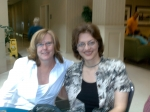 The next morning in the lobby after breakfast - Nancy Anderson and Loreen Leedy